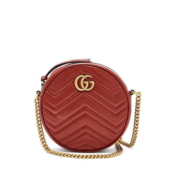 Круглая кожаная наплечная сумка Gucci GG Marmont