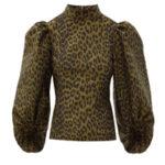 Леопардовая блуза GANNI с пышными рукавами и жаккардовым принтом