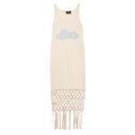 Платье LOEWE + Paula's Ibiza из шелка и трикотажа с отделкой макраме