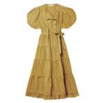 Многоярусное платье миди ULLA JOHNSON Agathe с запахом из хлопка и поплина