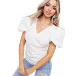 Белая поплиновая блуза Asos Missguided с объемными рукавами