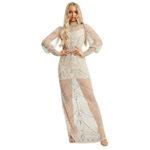 Прозрачное платье Asos Starlet с длинными рукавами цвета шампанского